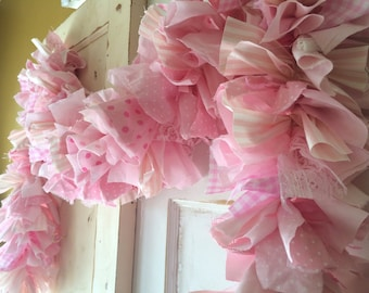 It's a Girl Baby Shower Party Decoration.  Pink Ribbon Lace and Fabric Garland.  Handmade 6-10 Ft. fabric Fabric Garland.  Made JUST for You