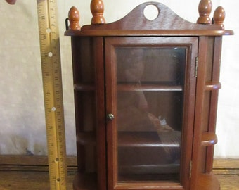 Curio Cabinet Small/Tiny Glass Doors Sits or Hangs
