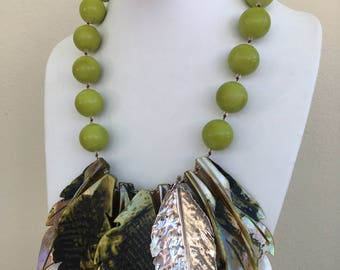 Green Pearl Necklace, hand knotted in silk thread, 20 mm fossil stone, mother of pearl and sterling leaves with sterling silver findings
