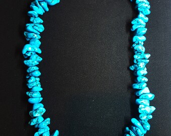 18 inches BLUE Turquoise Necklace sterling silver closure