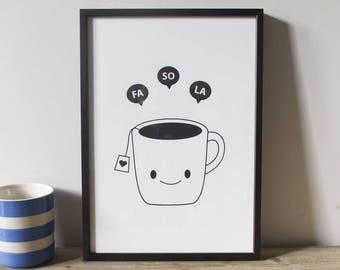 Tea Print, Fa So La Tea Print, Kitchen Print, Tea Poster, Screen Printed Poster