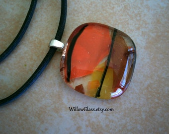 Fused Glass Pendant in Orange Shards by Willow Glass, Glass Jewelry, Glass Pendant on Black Cord