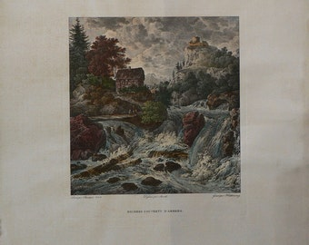 Frenc Landscape II - Cm. 50 x 70 Inches 19,7 x 27,6 - Printed on high quality paper and water-coloured by hand. Since 1920s