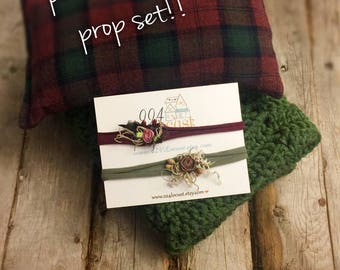READY TO SHIP, Olive Green Prop Set, Newborn Photo Prop, Newborn Posing Pillow, Plaid Pillow Prop, Photo Prop, Newborn Prop, Basket Stuffer