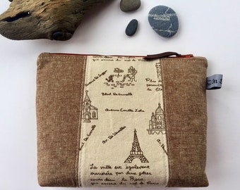 Large Zippered Pouch//Paris//Eiffel Tower