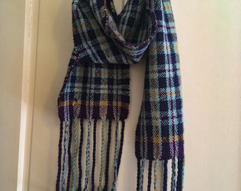 Moody Plaid Handwoven Scarf