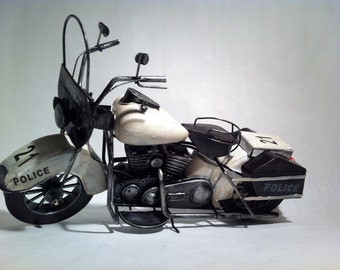 1950's Harley Davidson Tin Metal Indian Police Special Motorcycle Bike Sculpture Black and White