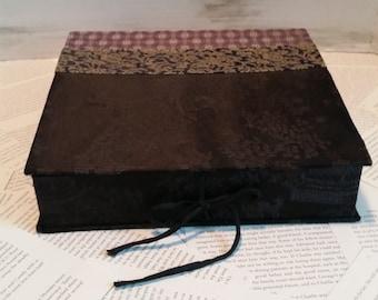 "Chinese Brocade Fabric Black Gold Silk Asian Inspired Birthday Gift ""Growing up ME!  Memory Compendium©"" RoadSideBoutique Mary Lynn Savko"