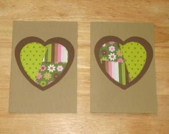 Heart Card - Love Card - Anniversary Card - I Love You Card - Heart Greeting Card - Heart Homemade Card - Blank Inside - Set of Two (2)
