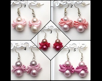 Earrings «pearls and Satin.