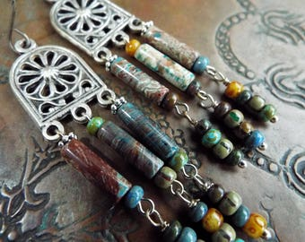 Rainbow Calsilica Czech Seed Beads Antiqued Silver Dangle Earrings Sterling Silver Wires