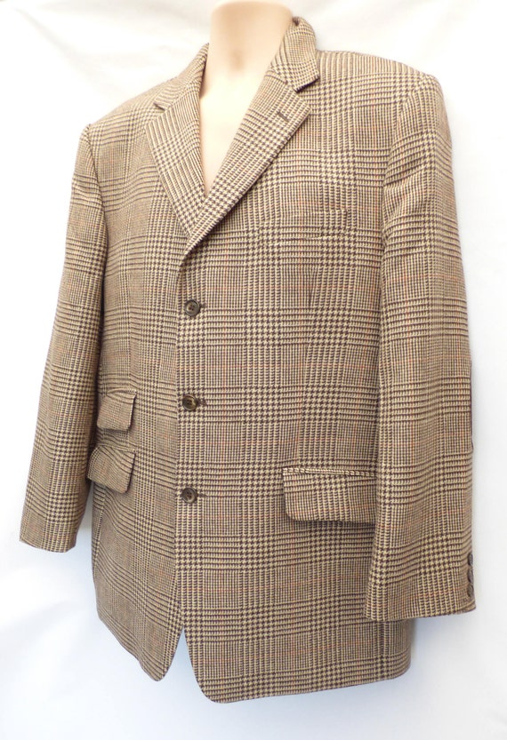Vintage Blazer HEINE Sports Coat Men's Check L Fitted Jacket Size Tweed Brown Wool XL rSqRr