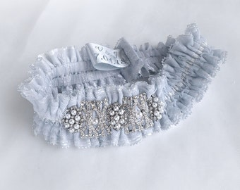Light blue lace sparkly brooches pearls wedding bridal garter Personalized vintage garter boxed