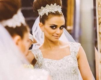 Rhinestones Headband/ Victorian headband, Bridal headpiece, wedding headband