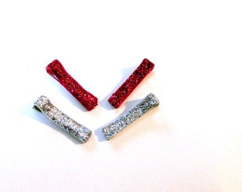 Glitter Ribbon lined alligator hair clips: 2 sets pick colors, Alligator clips covered with woven glitter ribbon, 4 pc set