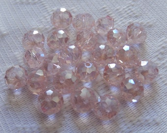 24  Light Pink AB Faceted Rondelle Crystal Beads  8mm x 6mm