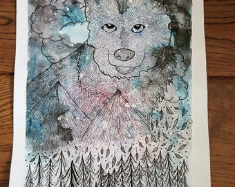 Mountain Spirit Wolf Watercolour and Ink Painting (Original Artwork)