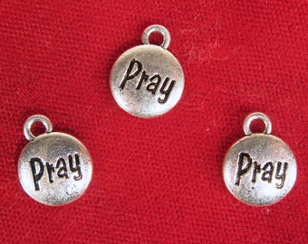 "30pc ""Pray"" charms in silver style (BC1388B)"
