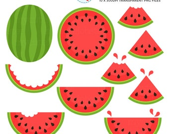 Watermelon Clipart Set - clip art set of watermelon, watermelon quarters, fruit - personal use, small commercial use, instant download