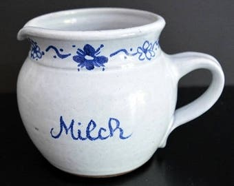 Vintage milk can light blue with dark blue floral pattern-food styling & Photography Prop Ref: FPS046