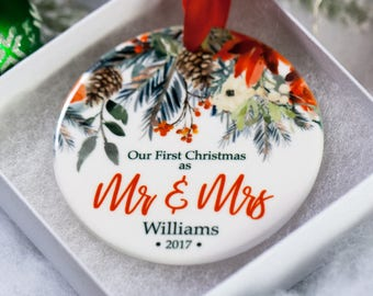 First Christmas Ornament Married 2018 Personalized Wedding Gift for Newlyweds Newlywed Custom Ornaments 1st Christmas Mr and Mrs Gifts