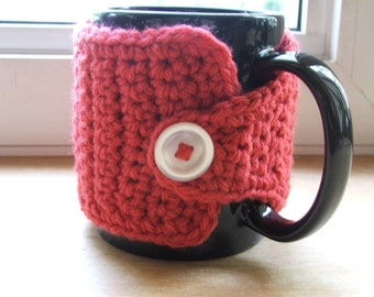 Crochet Coffee Cup Cozy - Rouge