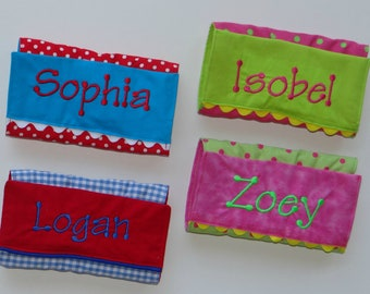 Personalized crayon wallet with paper and Crayola crayons, your choice of fabric