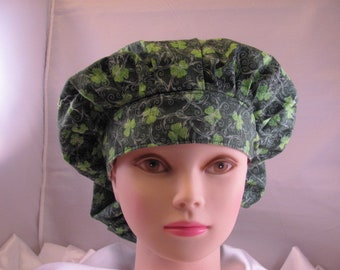 Women's Bouffant Scrub Hat Shamrocks and Swirls