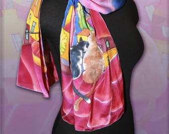 Silk Scarf Hand Painted Accessories Scarf pattern  Hand painted silk Gift for women Women's day Personalized Gift for her  Summer scarf