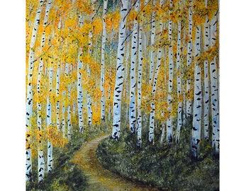 Fine Art Prints, Aspen Birch Trees, Autumn Colors, Gilcee Print, Landscape painting, Large wall art, Impressionism