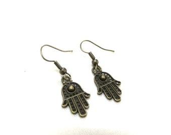 Small Bronze Hamsa Hand Earrings, Hamsa Earrings, Bronze Earrings, Protection Earrings, Evil Eye Jewelry, Hand Jewellery, Boho Earrings