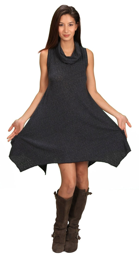 Spring Sale! Women's Cowl Neck Sleeveless Pixie Dress in Cloud Black