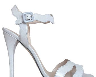 Joan Pearl White Leather High Heel Sandals wedding shoes, bridal shoes, Prom Shoes 39 40 41 42 43 8 9 10 11 12