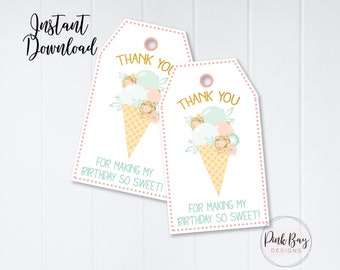 Ice Cream Thank You Tags, Thank You Tag, Birthday Thank You Tag, Instant Download, Ice Cream Favor Tags, Ice Cream Birthday, Ice Cream Party