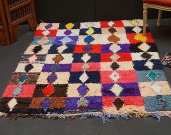 Bohemian rug Fabulous azilal rug 4x5 Vintage moroccan rug BOUCHEROUITE RUG Moroccan Rug Vintage Rug, Rag Rug Tapestry, Boucherouite rug