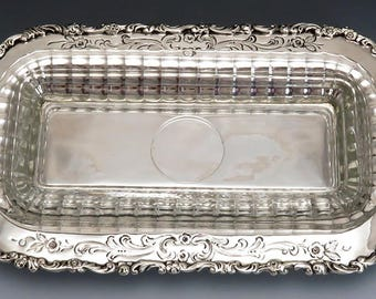 Nice VTG German Sterling Silver & Glass Butter Dish