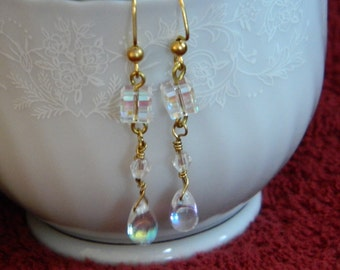 Crystal cube with AB drop dangle earrings with gold toned earwires