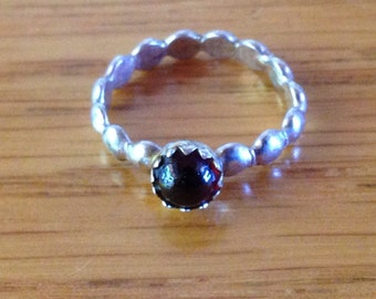 Sterling Silver Child's Ring with Red Gemstone, approx. size 1