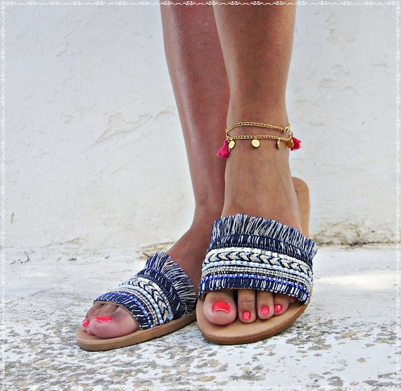 leather ocean' high quality Blue sandals nzR8nO