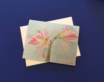 Pink Lilies. Watercolor print note card with white envelope.