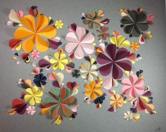 Large 3D FlowerArt - Gold, Yellow, Pink, Maroon