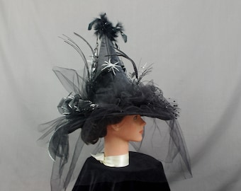 Spider Witch Hat, Black Witch Hat, Pagan Hat, Black and Silver Witch Hat, Halloween Costume, Halloween Witch Hat, Magic Hat, Wizard Hat