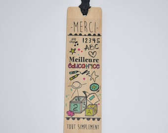 Wooden - best teacher bookmark
