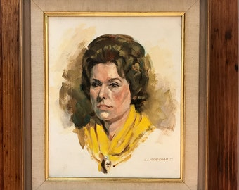 Vintage original 70s portrait painting of lady in yellow by G.L.Kryesman