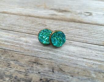 Green Druzy Earrings, Faux Druzy Earrings, Bronze Druzy, Stud Earrings, Gifts for her