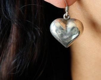 Vintage Sterling Heart Puffed Dangle Earrings - Sterling Heart Earrings
