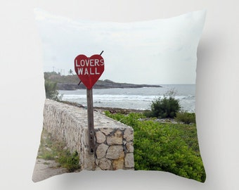 Lovers Wall, Pillow Cover, 16x16,18x18,20x20,home decoration,cottage decor,interior design,beige,red, green, love,ocean,tropical,nautical