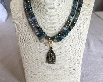 colorful necklace w/ buddha charm