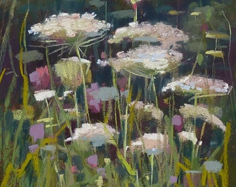 Intimate Wildflowers Queen Annes Lace Original Pastel Painting Karen Margulis