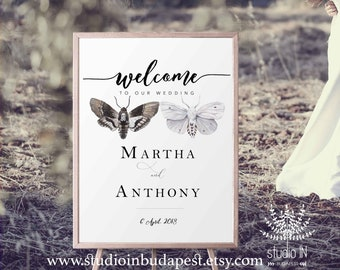 Welcome Sign, Woodland Wedding Welcome Sign, forest Wedding Sign, woodland Reception Sign, moth wedding poster, PRINTABLE